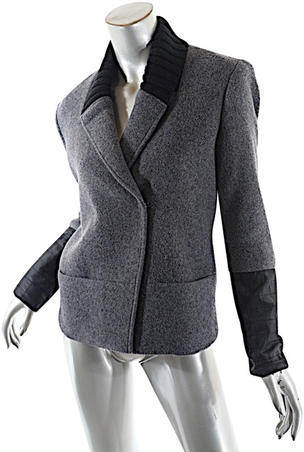 Item - Grey Charcoal Wool Blend Fleeced Rib Collar Db Goat Leather Cuffs Blazer Size 6 (S)