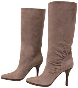 Jimmy Choo Wood Heel Lavender Ruched Suede Gray-Lavender Boots