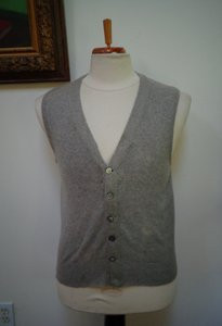 Jaeger Brown Heather Man's 100% Cashmere Button Front V-Neck Vest Size S