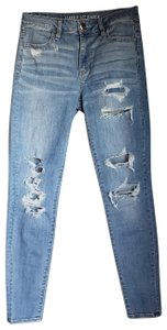 American Eagle Outfitters Distressed High Rise Medium Light Wash Super Stretch Skinny Jeans-Distressed