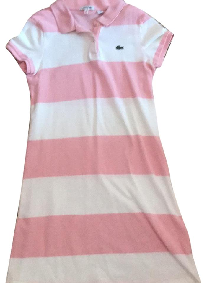 c3e92d2cd68526 Lacoste Pink and White Girl s Cotton Polo Short Casual Dress Size 12 ...