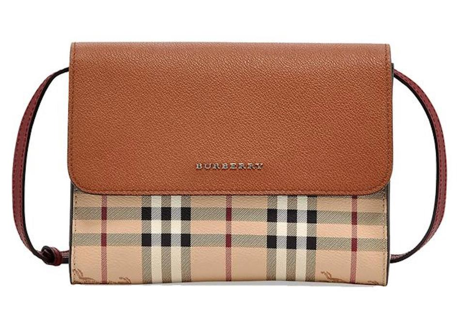 Burberry Haymarket Check Loxley Womens Crossbody Bright Toffee ... 1f0a952972326