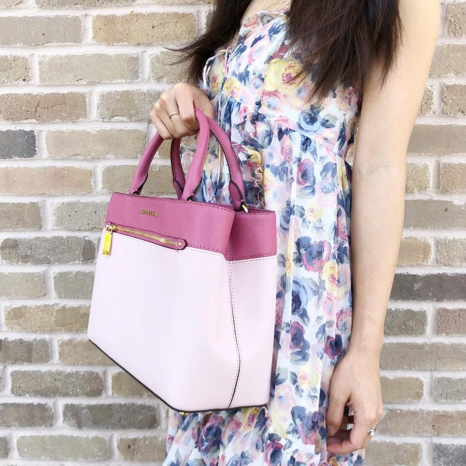 a44d385fb0af Michael Kors Hailee Kellen Medium Crossbody Blossom Tulip Pink Leather  Satchel - Tradesy