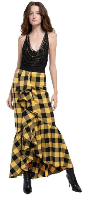 Item - Black and Yellow Check Ariana Trumpet Skirt Size 4 (S, 27)