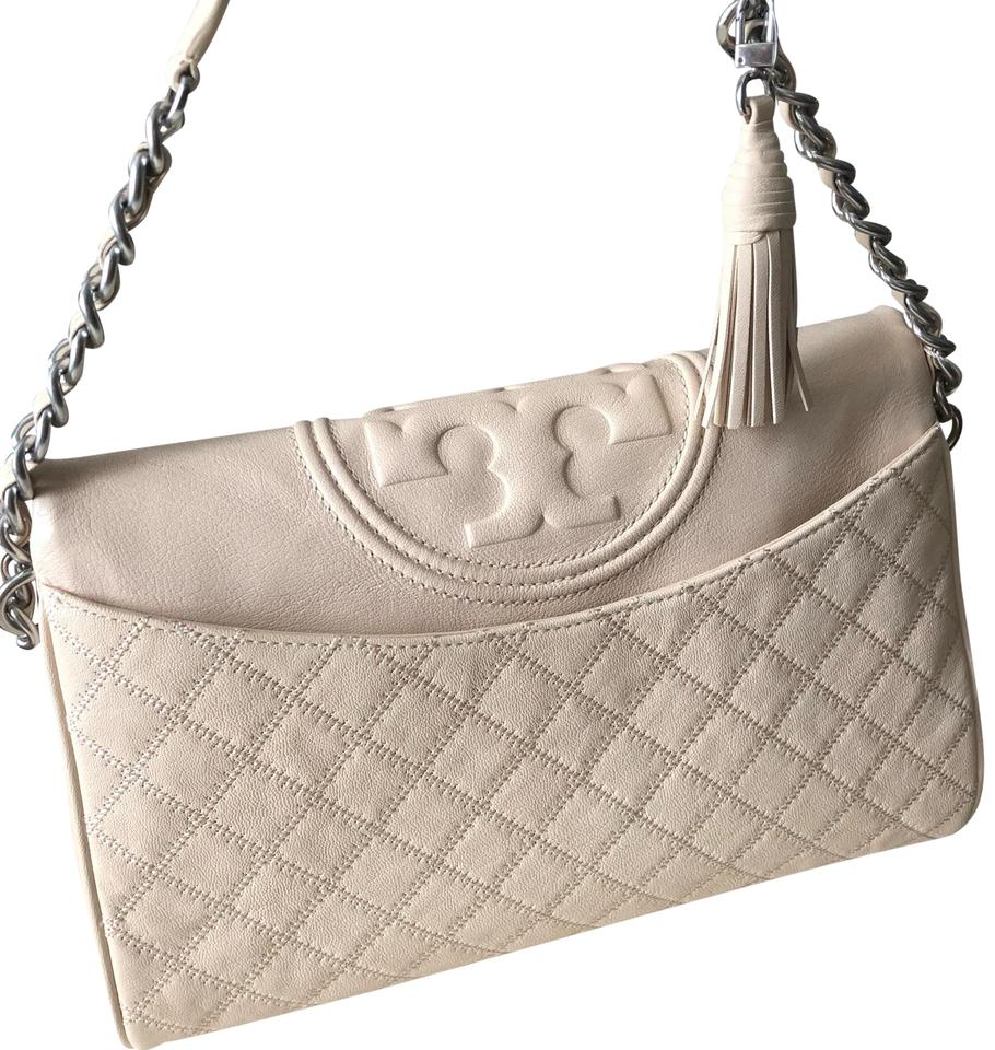 2125639626d Tory Burch Fleming Distressed Fold-over New Cream Leather Hobo Bag ...