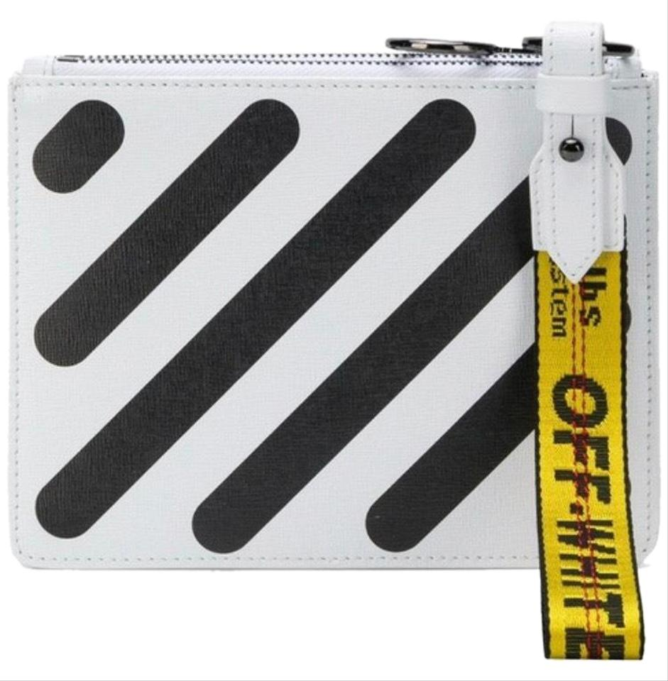 e438a395601 Off-White™ Diag Double Flat Pouch Black and White Leather Wristlet ...