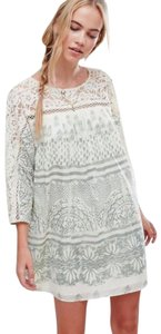 Free People short dress Ivory Sheer Lace Crochet Trim Shift Comfy Cotton Back Button Loop on Tradesy