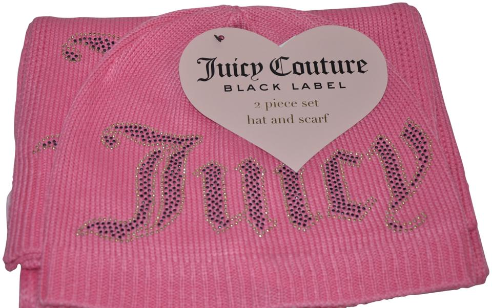 80060ad3a63 Juicy Couture NWT JUICY COUTURE BLACK LABEL 2 PIECE SET HAT SCARF PINK  BEANIE LOGO Image ...