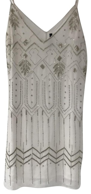 Item - White & Silver Bedazzled Going Or Special Occasion Short Night Out Dress Size 8 (M)