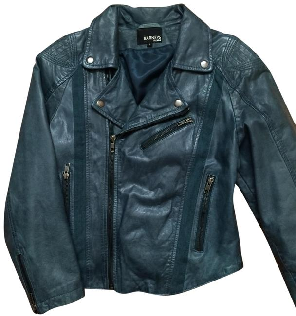 Teal Green Leather Cropped Jacket Blazer Size 8 (M) Teal Green Leather Cropped Jacket Blazer Size 8 (M) Image 1