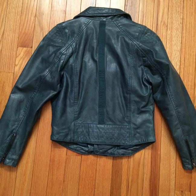 Teal Green Leather Cropped Jacket Blazer Size 8 (M) Teal Green Leather Cropped Jacket Blazer Size 8 (M) Image 2