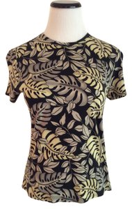 Tommy Bahama Leaf Print T Shirt Black/Green