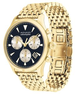 Movado Swiss Chronograph Heritage Gold-Tone Stainless Steel Bracelet Watch