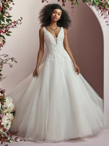 8f137ad4e31 Maggie Sottero Ivory Over Soft Blush Lace and Tulle Wynona Modern Wedding  Dress Size 8 (