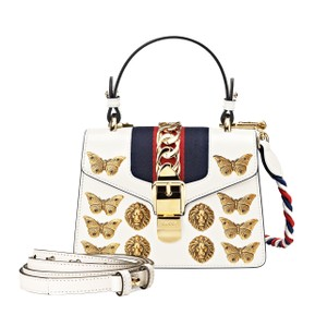 Gucci Leather Satchel in Mystic White