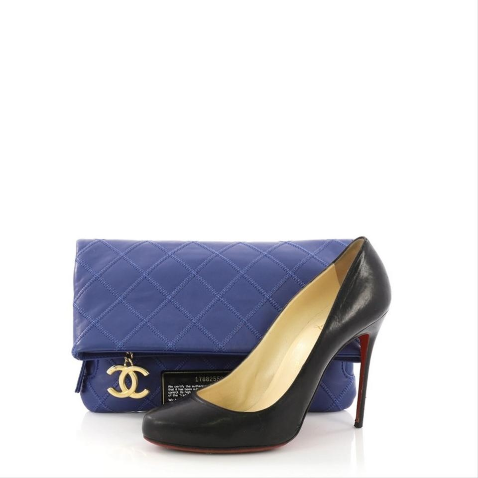 5195d2fdfc32 Chanel Clutch Thin City Quilted Calfskin Small Blue Leather Clutch ...