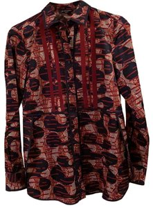 Brooks Brothers Button Down Shirt navy with burgundy, gray print