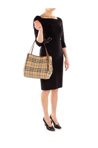 Burberry Purse Check Leather Cross Body Bag