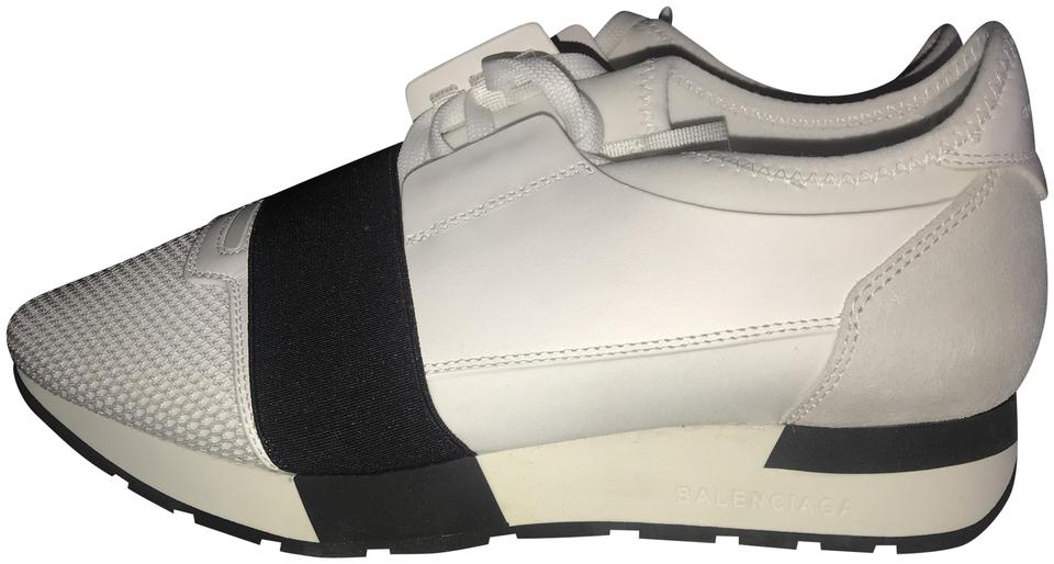 dc1a6e8c02d74 Balenciaga White Race Runner Leather Neoprene Suede and Mesh Sneakers  Sneakers
