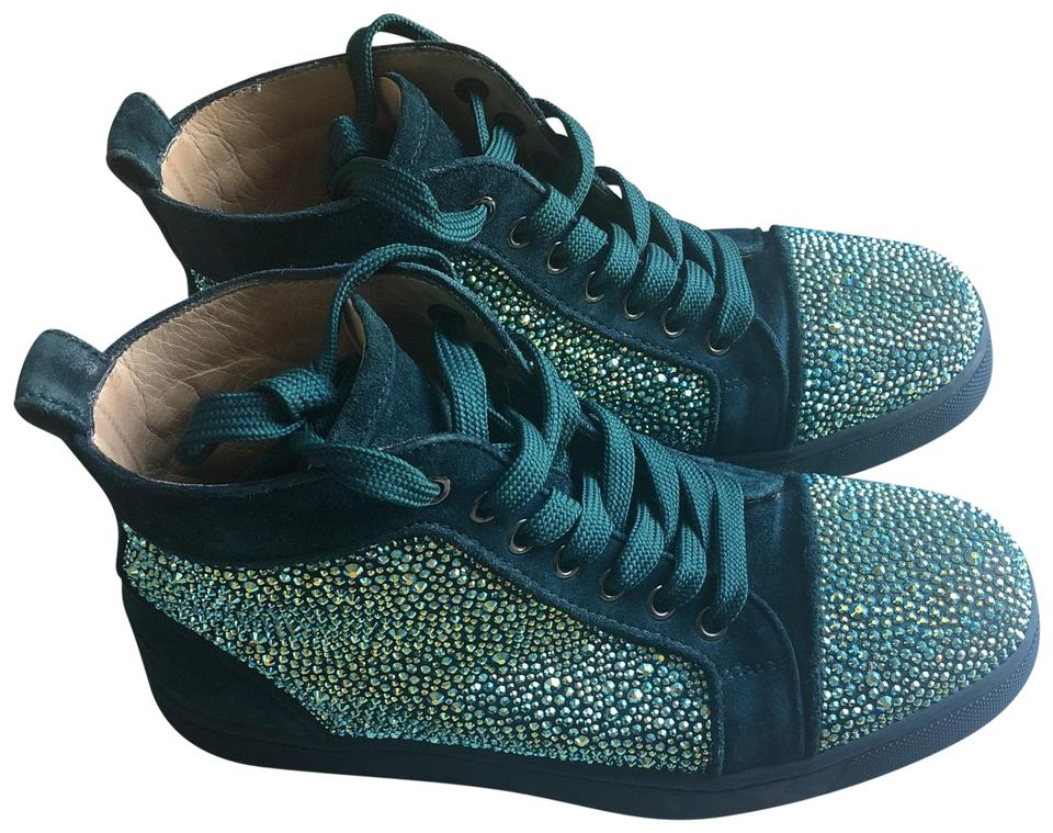 ddcbd0c93b8f Christian Louboutin Teal Swarovski Crystal Women s Strass and Suede Sneakers  Sneakers