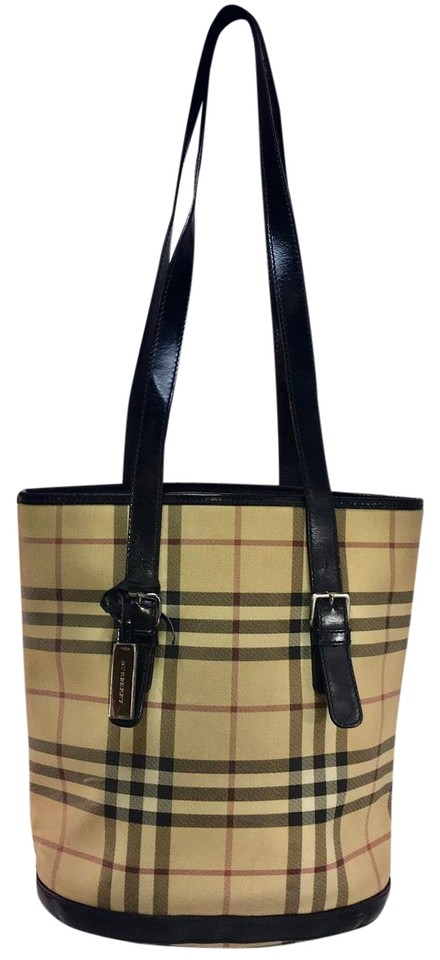 539c13dd4410 Burberry Nova Check Bucket Rare Black Beige Canvas Leather Tote ...