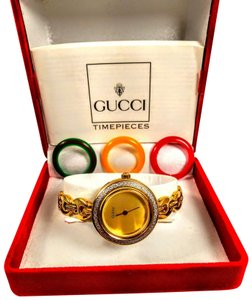 Gucci Rare vintage gold face Gucci interchangeable Swiss made watch