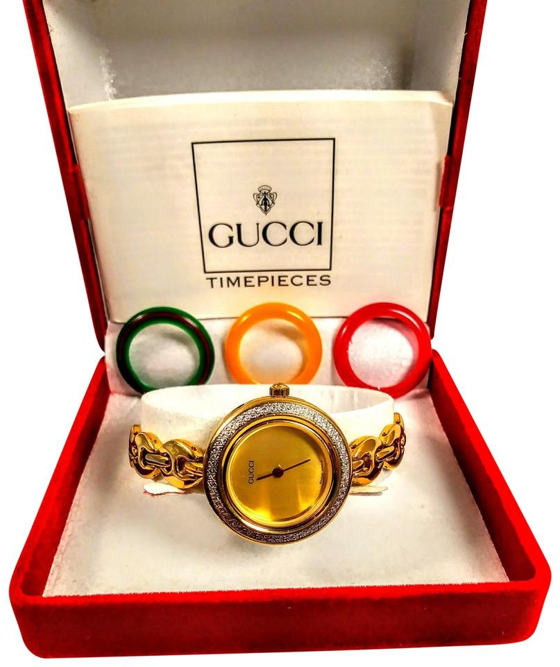 95d60521cb0 Gucci Rare vintage gold face Gucci interchangeable Swiss made watch Image 0  ...