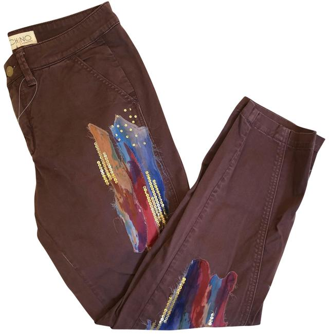 Item - Brown Multi Chino Sequin & Paint Pants Nwot Straight Leg Jeans Size 6 (S, 28)