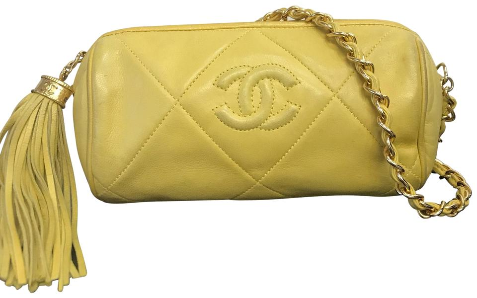 289f16f77147 Chanel Quilted Barrel Tassle Yellow Leather Shoulder Bag - Tradesy