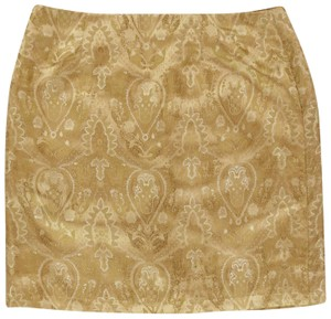 Jaclyn Smith Party Date Night Paisley Mini Skirt Gold