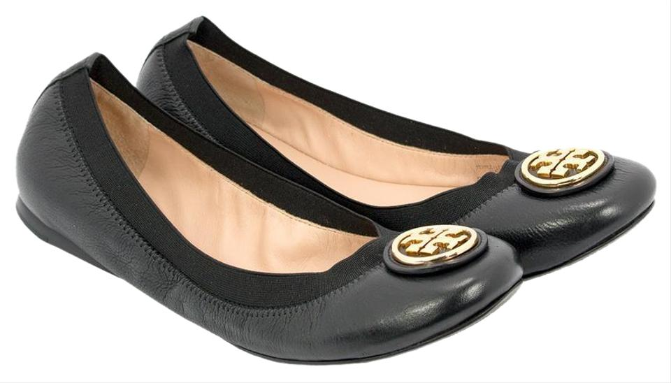 735e98092baf Tory Burch Black Caroline 2 Striped Ballerina Flats Size US 10.5 ...