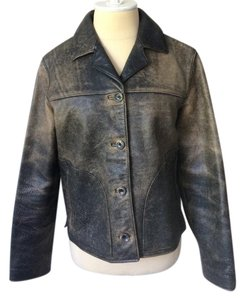 The Territory Ahead Black and tan Leather Jacket