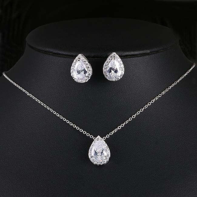 Item - Silver/Gold/Rose Gold Aaa Cubic Zirconia Bridesmaid Colors Jewelry Set