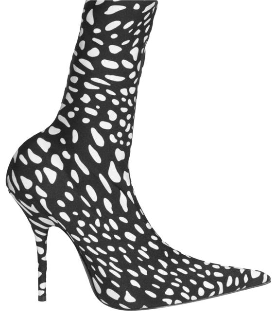 Item - Black/White Printed Spandex Knife Boots/Booties Size EU 39 (Approx. US 9) Narrow (Aa, N)
