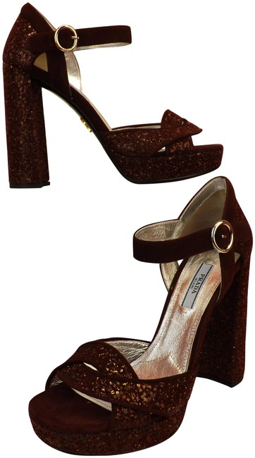Item - Red Burgundy Glitter Suede Platform Mary Jane Pumps Italy Sandals Size EU 37 (Approx. US 7) Regular (M, B)