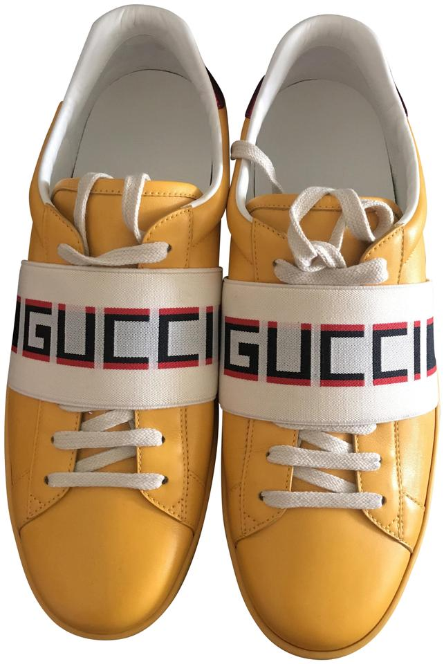 71991a89ce8 Gucci Yellow  Red Flame New Ace Stripe Leather Sneaker Unisex(Men8 ...
