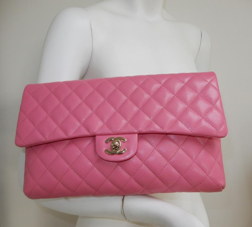 8006b752f7d322 Chanel Classic Flap Large Bubble Gum Caviar Pink Leather Clutch - Tradesy