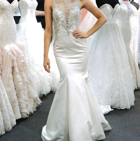 Allure Bridals White Satin Beads Casual Wedding Dress Size