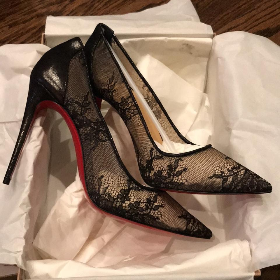 f982c9b5660 Christian Louboutin Black Lace 554 Lace Lame Stiletto Pumps Size EU 38.5  (Approx. US 8.5) Regular (M, B) 8% off retail