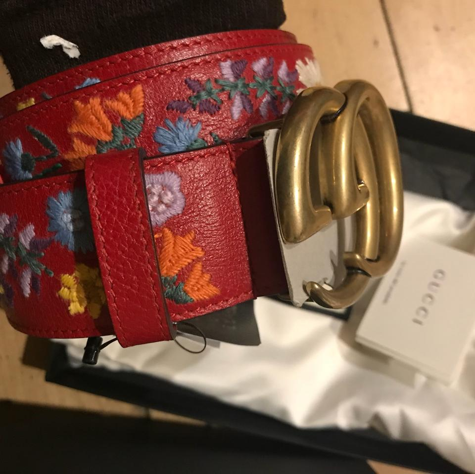 47db0557c Gucci Gucci Embroidered textured-leather belt 80 Image 4. 12345