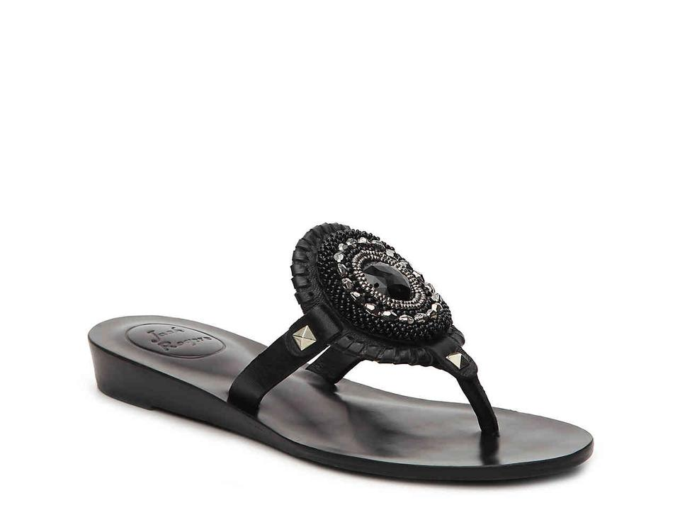 4741a6971d391 Jack Rogers Black Gisele Thong Beaded Leather Sandals Size US 8 ...