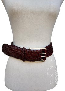 7a30fc700da7 Michael Kors Michael Kors brown Leather Breaded Wide Belt with Big Gold  Fork Buckle