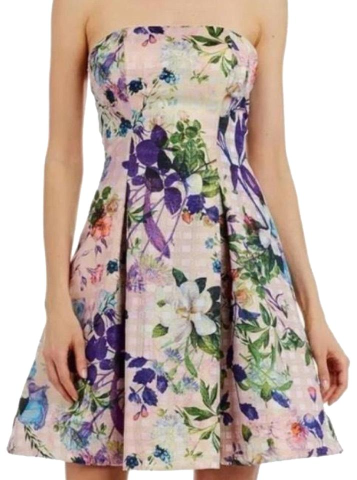944393868a5 Nicole Miller Purple Pink Gold Floral Strapless Short Cocktail Dress ...