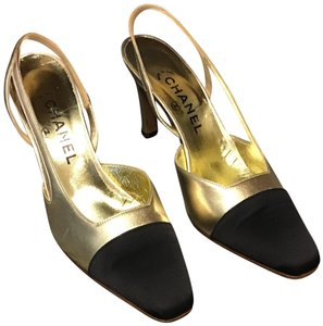 Chanel Leather Box/Dustbag Slingback Sexy Heel Black and Gold Formal
