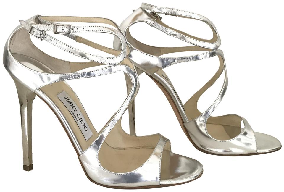 708a212848d Jimmy Choo Silver Mirror Lance Sandals Size EU 40 (Approx. US 10 ...