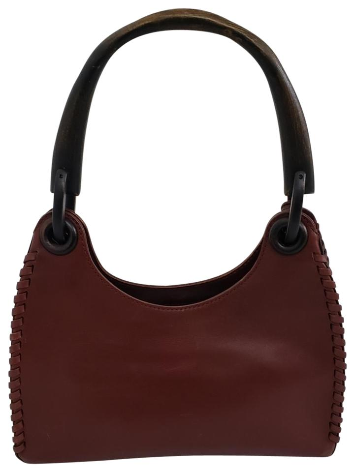 Gucci Whipstitch And Wooden Handle Wine Burgundy Leather Hobo Bag