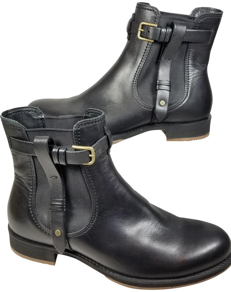 f393ca2e243 Ecco Black Ankle Leather Chelsea Saunter Pull-on Boots Booties Size ...