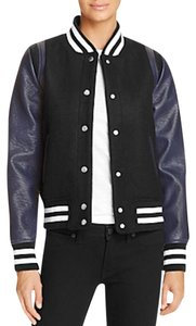 Vigoss Faux Color-blocking Stripe Black/Navy/White Leather Jacket