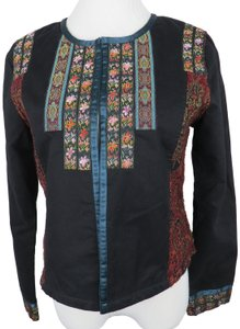 Sundance Festival Tapestry Embroidered Quilted Black Blazer