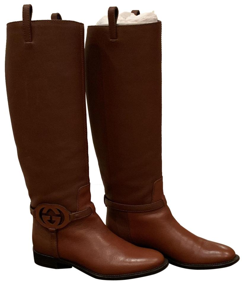 787677241 Gucci Brown Saddle Riding Boots/Booties Size EU 36 (Approx. US 6 ...